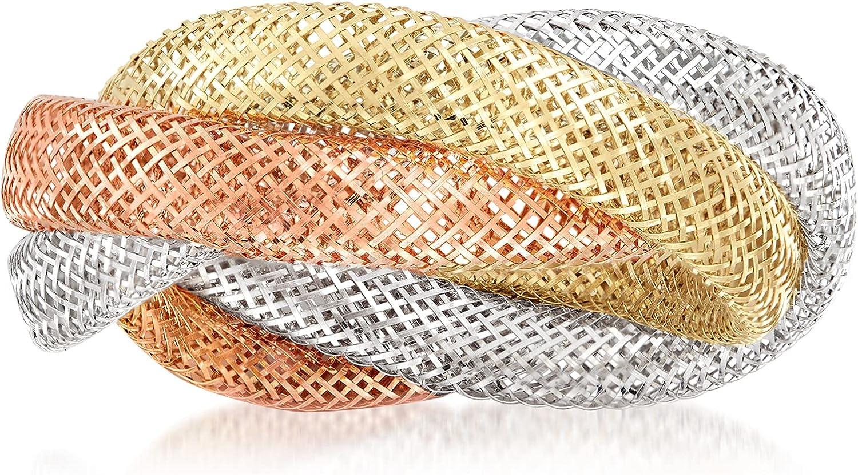 Ross-Simons Italian 14kt Tri-Colored Gold Mesh Ring