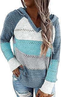 Women's Lightweight Color Block Knit Hoodies Sweaters...