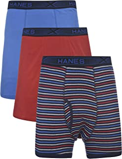 Hanes Men's 3-Pack Tagless 100% Cotton Boxer Briefs with X-Temp and FreshIQ Technology - Extended Sizes