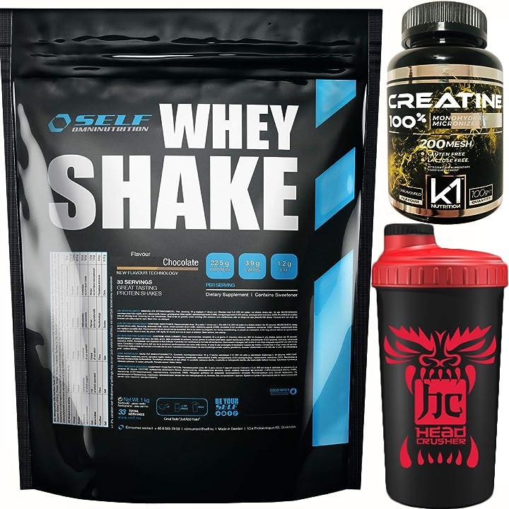 Proteine siero del latte concentrate gusto cioccolato + shaker e creatina nutriline self shake 1 kg B072J5TGYV