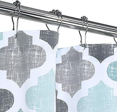 Haperlare Fabric Shower Curtain, Aqua Polyester Cotton Blend Fabric for Bathroom Showers and Bathtubs, Geometric Pattern Heav