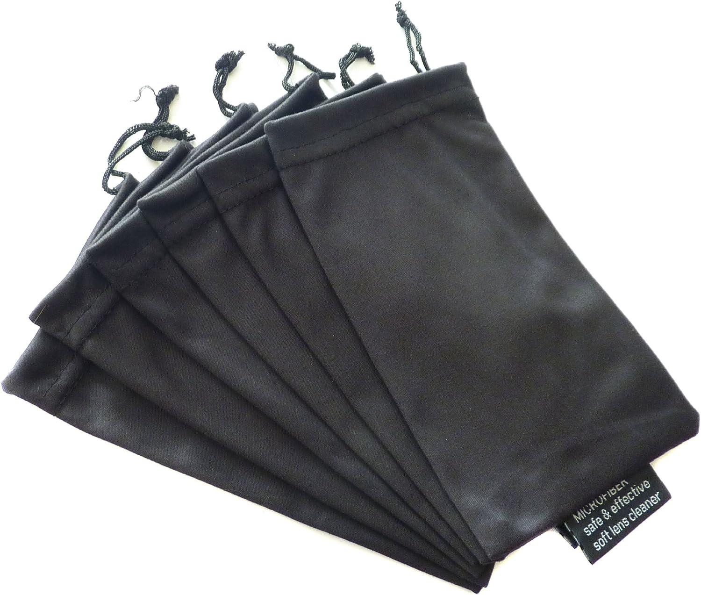 6 PC Sunglass Eyeglass Microfiber Soft Lens Cloth Carry Bag Pouch Case (Black)