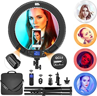 "Ring Light, Pixel 19"" Bi-Color Ring Light with Stand and Wireless Remote, 60W 3000-5800K CRI≥97 Light Ring with 3 Color Filters (Red/Blue/White) for Vlogging Portrait Makeup Video Shooting"