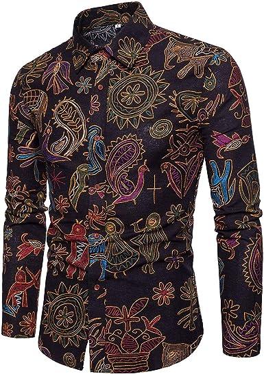 Camisa De Estilo Étnico Vintage Casual para Camisa De Hombres ...