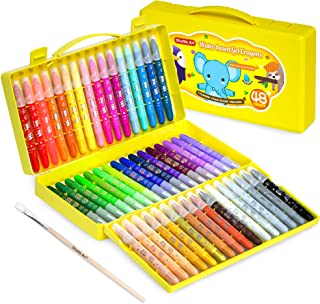 48 Colors Gel Crayons for Toddlers, Shuttle Art Non-Toxic Twistable Crayons Set with 1 Brush and Foldable Case for Kids Ch...