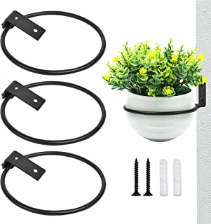 Akamino 3 Pack Flower Pot Holder Ring Wall Mounted - Metal Plant Hooks Hangers Collapsible Bracket for Indoor and Outdoor ...