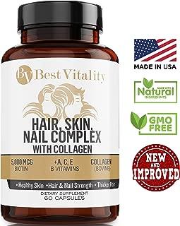 BestVitality 100% Natural Hair, Skin, Nails, Beard & Stache Hair-Growth Supplement. This formula contains Vitamin E, B1 Thiamine, B2 Riboflavin, B5 Pantothenic Acid, Biotin, Zinc, Copper and Collagen