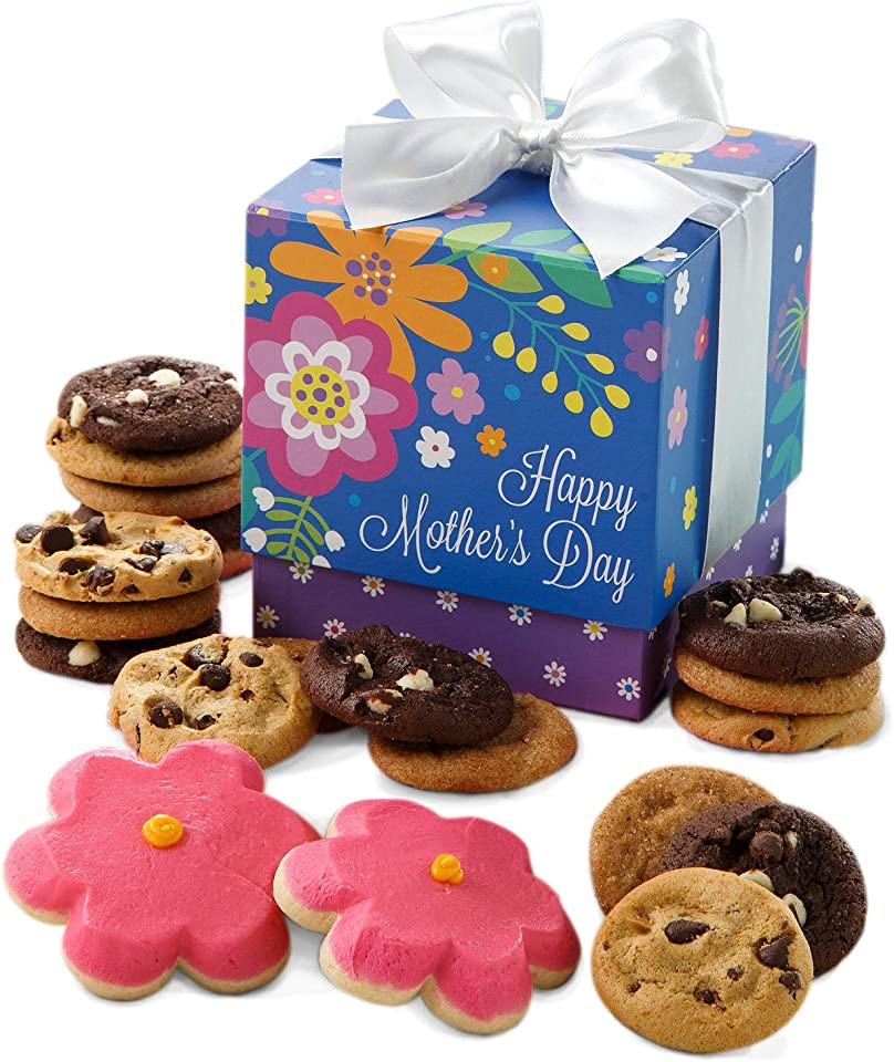Mrs. Fields Cookies Mother's Day Mini Ribbon - Includes: Nibblers Bite-Sized Cookies & Hand-Frosted Flower Cookies
