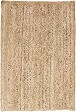 SUPERIOR Natural Braided Collection Hand Woven Jute Rug, 3' X 5'