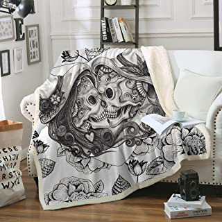 Sleepwish Skull Blankets Black and White Vintage Skull Throw Blankets Fashion Fleece Blanket for Couch Sofa Bed (Throw 50