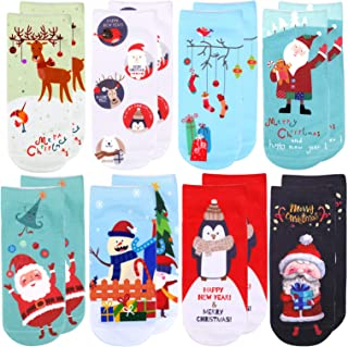 HOWAF, HOWAF 8 Pares Bonitos Calcetines Navidad para Niños Niñas, Calcetines Navidad Casuales Tobillo, Calcetines de Algodón Cálidos Navidad Regalo para Niños Adultos Navidad Caja Sacos Calcetines Rellenos