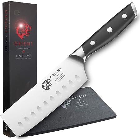 """ORIENT Série Carbon - Couteau Nakiri 6"""" – Couperet 14 cm avec Coffret Cadeau - Couteau de Cuisine Nakiri - Couteau Japonais - Couteau à Légumes Professionnel - Couteau de Chef avec Protection de Lame"""