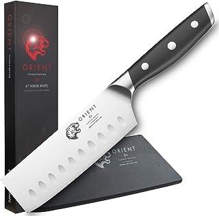 """ORIENT Série Carbon - Couteau Nakiri 6"""" – Couperet 14 cm avec Coffret Cadeau - Couteau de Cuisine Nakiri - Couteau Japonai..."""