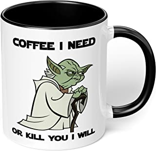 """1 Mug -""""Star Wars Yoda"""" Funny Quote - Perfect for your cuppa Coffee, Tea, Karak, Milk, Cocoa or whatever Hot or Cold Bever..."""