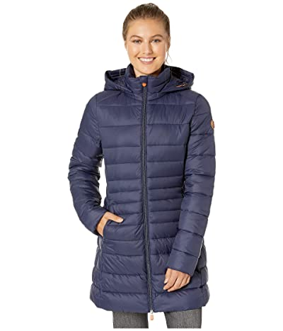 Save the Duck Giga 9 Puffer Coat with Removable Hoodie (Navy Blue) Women