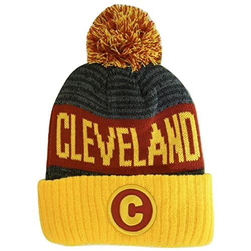 25316e7a13afa BVE Sports Novelties Cleveland C Patch Ribbed Cuff Knit Winter Hat Pom  Beanie