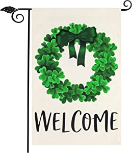 "Unves St Patricks Day Garden Flag, Welcome Garden Flag Vertical Double Sided, Clover Wreath Shamrock Garden Flag Burlap, St Patricks Day Flag for Spring Summer Yard House Outdoor Decor 12.5""x18"""