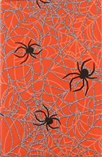 Haunted Halloween Spooky Spiders on Their Silver Webs Vinyl Flannel Back Tablecloth (52