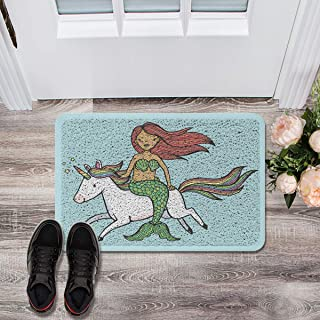 Soft Outdoor Indoor Doormats Absorbs Mud Carpet- Turquoise Background Mystery Mermaid Riding a Unicorn 18 x 30 inches, Machine Washable All Weather Durable Waterproof Decorative Floor Mat