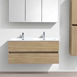 Le Monde du Bain De Mueble de baño diseño Doble Armario Siena Ancho 120cm Roble Claro