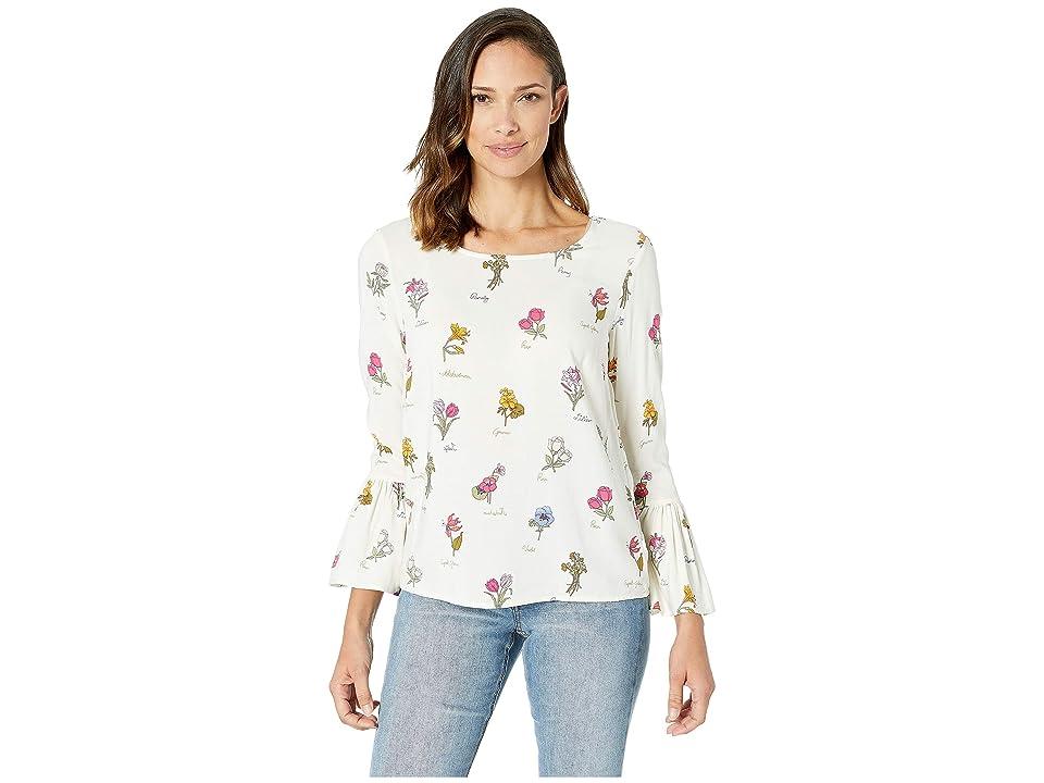 Image of ALEXANDER JORDAN Floral Print Blouse Bell Sleeve (Cream/Floral) Women's Clothing