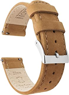 Barton Quick Release - Top Grain Leather Watch Band Strap - Stainless Steel Buckle - Choice of Width - 16mm, 18mm, 19mm, 20mm, 21mm 22mm, 23mm or 24mm Standard Length & Long