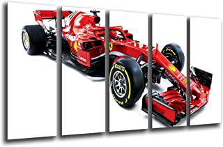 MULTI Wood Printings Art Print Box Framed Picture Wall(Total Size: 65 x 24.4 in),Formula 1Car, Ferrari F1sf71-h, Ferrari F12018, Sebastian Vettel, Kimi Raikkonen-Framed And Ready To Hang-ref. 27115
