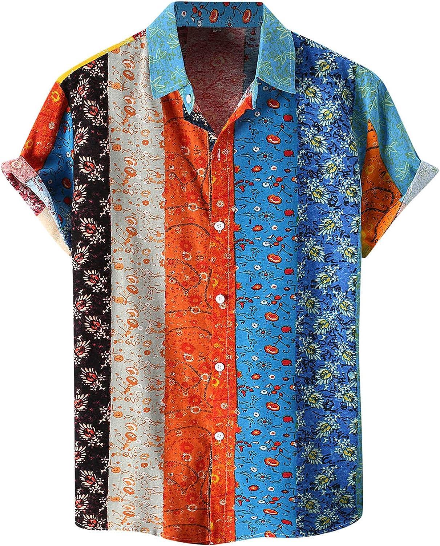 FANGTION Men's Casual Stripe Geometric Lapel Print free Shirt Splice Today's only