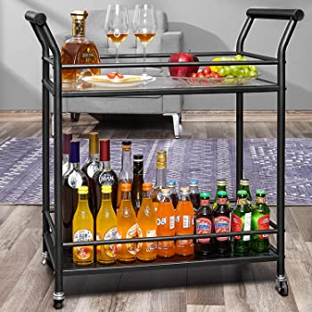 kealive Metal Rolling Bar Cart on Wheels, 2 Tier Wine Serving Cart with Tempered Glass, 2 Lockable Wheels,Suitable for Home, Outdoor, 29.5L x 15.8W x 31.5H, Black