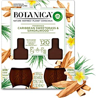Botanica by Air Wick Plug in Scented Oil Refill, 2 Refills, Caribbean Sweetgrass and Sandalwood, Air Freshener, Essential Oils