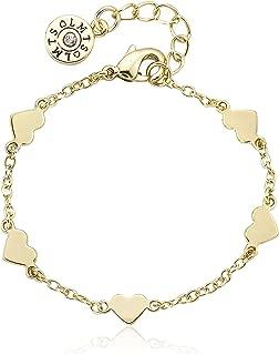 Classic! 14k Gold-Plated Heart Station Bracelet