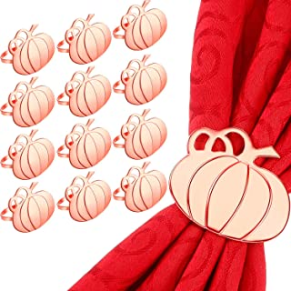 Pumpkin Napkin Rings Halloween Napkin Rings Metal Practical Napkin Ring Holders Serviette Napkin Buckle for Halloween Thanksgiving Holiday Table Party Decoration (12 Pieces, Rose Gold)