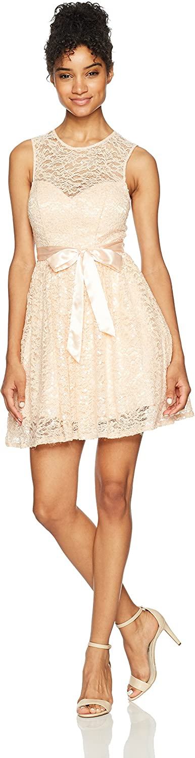 Bee Darlin Womens Sleeveless Jewel Neck Party Dress with Ribbon Tie Dress