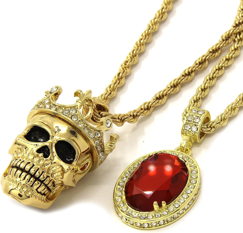 Jewel Town Mens Gold Crowned Skull Red Ruby Bundle Set Pendant Hip Hop 24