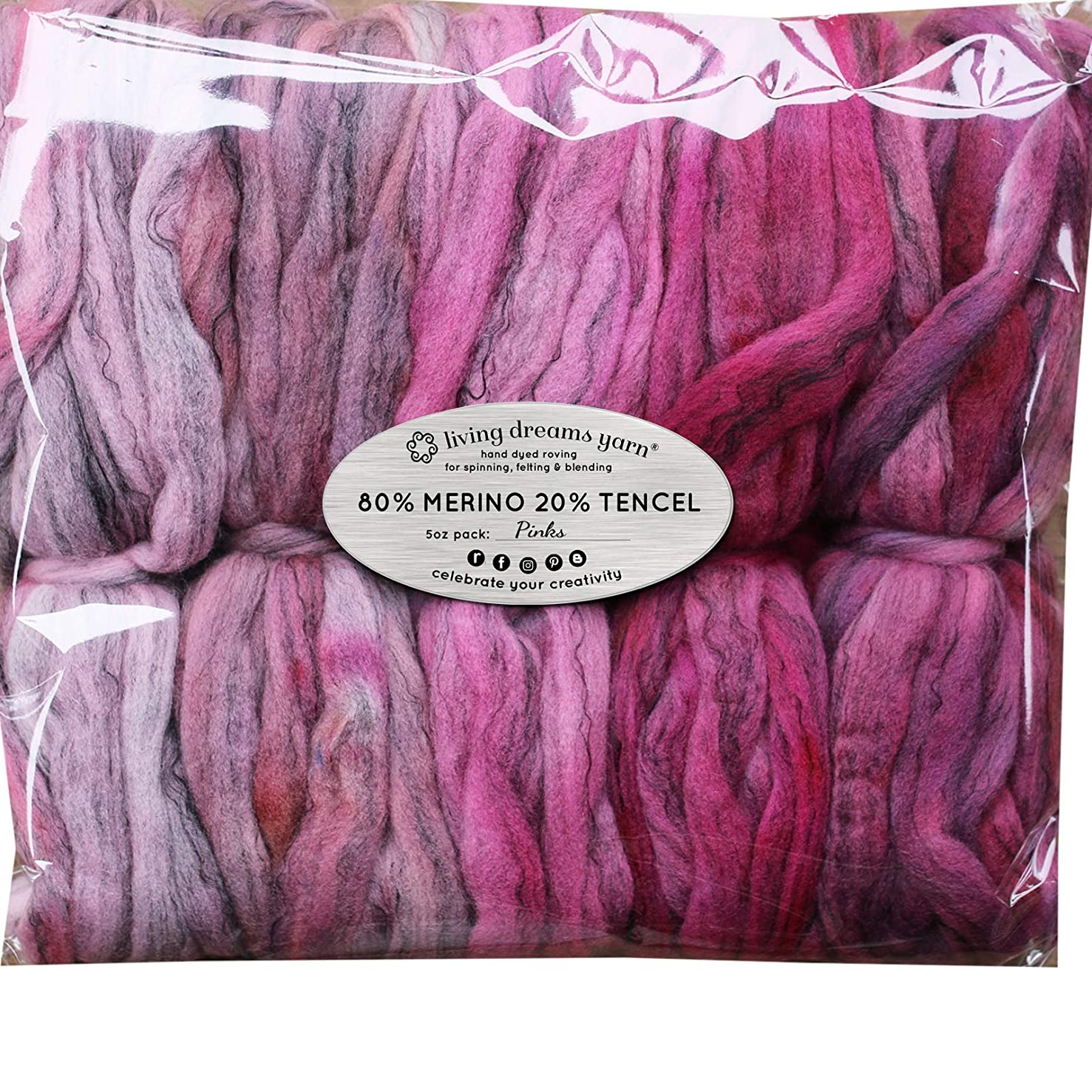 Hand Dyed Merino Tencel Spinning Fiber. Super Soft Wool Top Roving drafted for Hand Spinning, Felting, Blending and Weaving. 5 Beautifully Colored Mini Skeins Discount Pack, Pinks