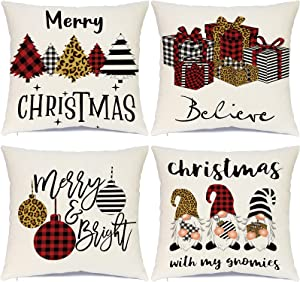 Ueerdand Christmas Pillow Covers 18 x 18 Set of 4Buffalo Plaid Stripe Tree Gnome Rustic Winter Holiday Throw Pillows Farmhouse Christmas Decor for HomeXmas Decorations Cushion Cases for Couch