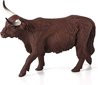 MOJO Highland Cow Realistic Farm Animal Hand Painted Toy Figurine, Natural (387199)