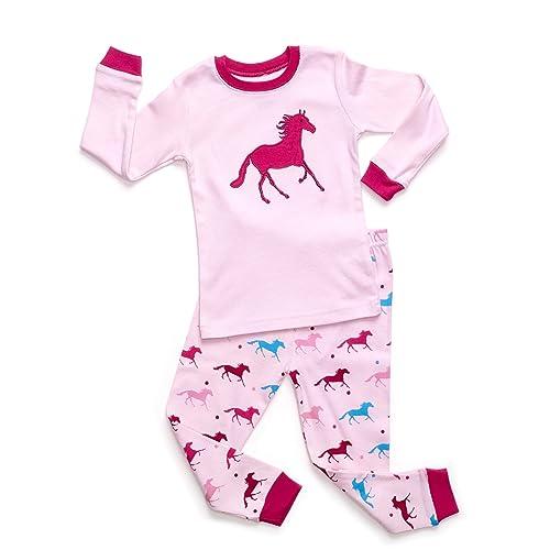 f3725c660f Leveret Kids   Toddler Horse Bird Girls Pajamas 2 Piece Pjs Set 100% Cotton  Sleepwear