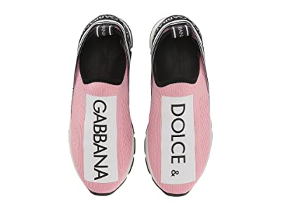 Dolce & Gabbana Kids Jersey Slip-On Sneaker (Little Kid/Big Kid) (Rose/White) Girl