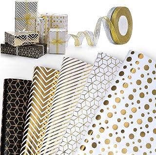 WolinTek Papier Cadeau,Lot de 5 Papier Cadeau et 2 Rouleaux de Ruban, Papier d'emballage pour Anniversaire, Vacances, Mari...