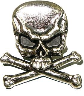 Skull and Crossbones Splashback Concho Nickel and Black Plated