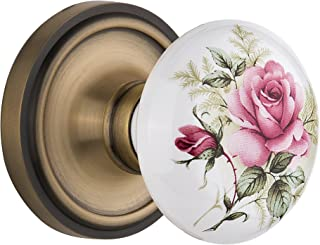 Nostalgic Warehouse Classic Rosette with Rose Porcelain Door Knob, Single Dummy, Antique Brass