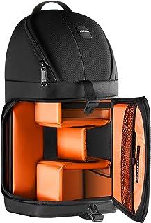 Neewer Profesional Bolsa de cámara Almacenamiento Durable Resistente al Agua y Prueba del rasgón Negro Mochila maletín para cámara DSLR Lente y Accesorios NW-XJB02S (Interior Naranja)