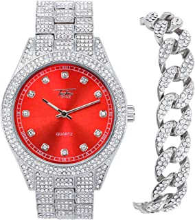 Men's ICY Bling-ed Out Bust Down Watch with CZ Diamond Iced Band and CZ Stud Indicators + Matching ICED Culture Cuban Link...