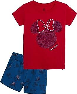 Minnie Mouse Pijama Niña Verano, Ropa de Niña Algodon 100%, Conjuntos de 2 Piezas Top y Pantalon Corto Niña, Regalos Originales para Niñas Edad 8-14 Años