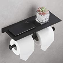 DUFU Toiletrolhouder Wandmontage Dubbel Toiletpapierhouder met Plank WC Rolhouder Zonder Boren Zelfklevend Papierrolhouder...