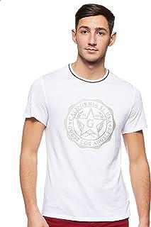 GUESS Men's Crew Neck Small Sleeve Seal T-Shirt, White (Blanc Pur), Medium