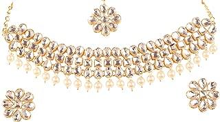 Touchstone New Indian Bollywood Desire Exclusive Mughal Era Inspired Stylish Traditional Kundan Polki Look Designer Bridal Designer Jewelry Choker Necklace Set for Women.
