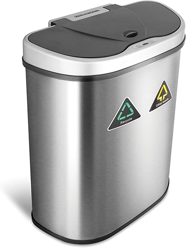 NINESTARS Automatic Touchless Infrared Motion Sensor Trash Can Recycler With D Shape Silver Black Lid Stainless Steel Base 18 Gal Stainless