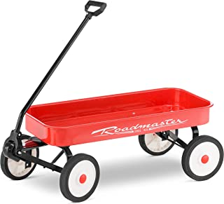 Roadmaster R6221T Kids and Toddler Classic 34-Inch Steel Pull Wagon, 8-inch Wheels, Red/Black